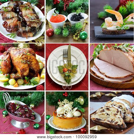 collage festive Christmas menu (turkey, appetizers, cranberry sauce, cake and Stollen)