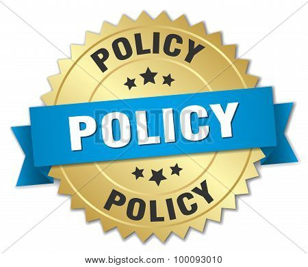 Policy 3D Gold Badge With Blue Ribbon