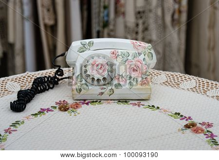 Old phone set made  in decoupage technique.