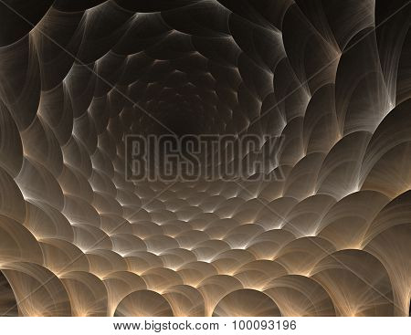 Simple Fractal Pattern Form Of Round Honeycomb