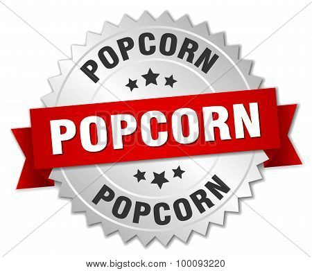 Popcorn 3D Silver Badge With Red Ribbon