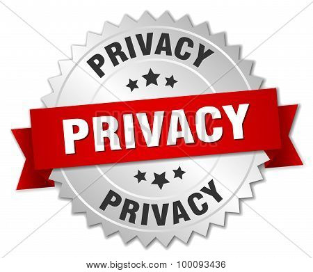 Privacy 3D Silver Badge With Red Ribbon