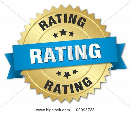 Rating 3D Gold Badge With Blue Ribbon