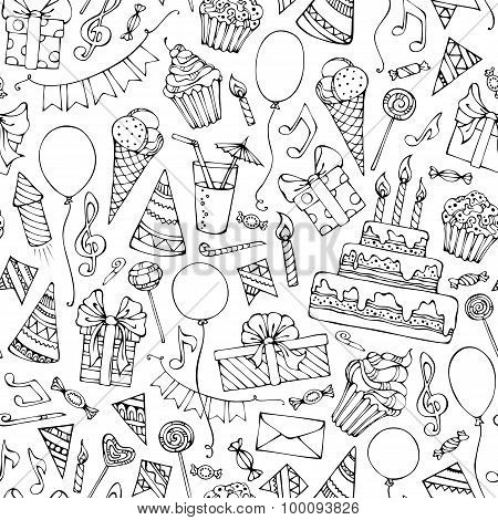 Hand-drawn Seamless Birthday Pattern.