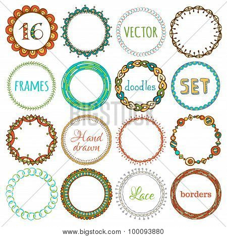 Vector Set Of 16 Hand-drawn Ethnic Frames.