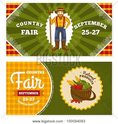 Country fair vintage invitation cards vector illustration