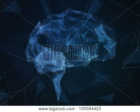 The abstract image of human brain in form lines communication network