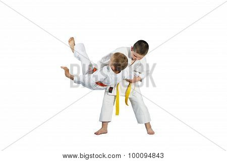 Boys are the training judo throws