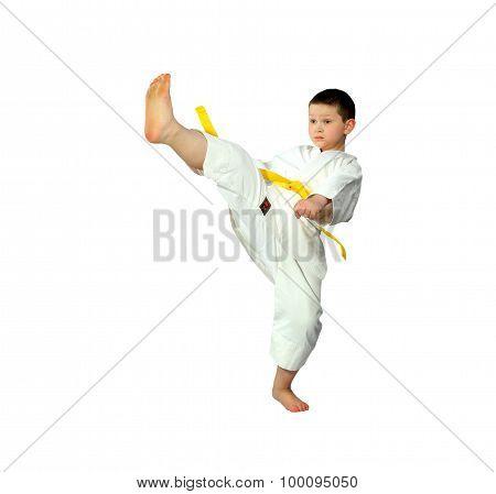 Little boy is doing blow mae-geri