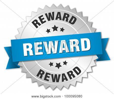 Reward 3D Silver Badge With Blue Ribbon