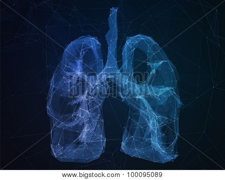 The abstract image human lungs in form of lines communication network