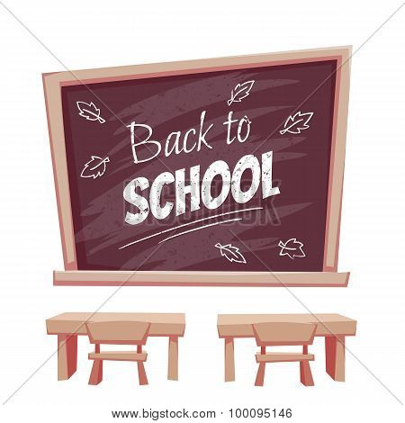 Illustration of Back to school poster. Classroom with desk