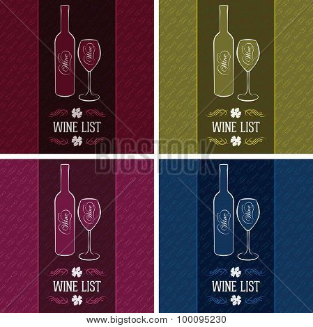 Set Of Templates For Cover Menus And Wine