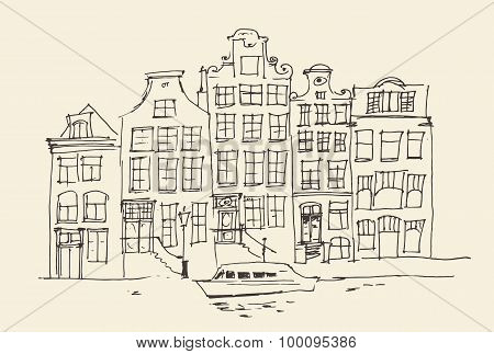 Amsterdam, city architecture, vintage engraved illustration, hand drawn