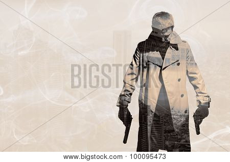 Double Exposure Of Killer Standing On Dark City Background To Ki