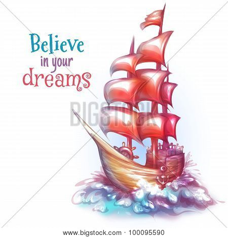 Vector illustration of sail ship with sea