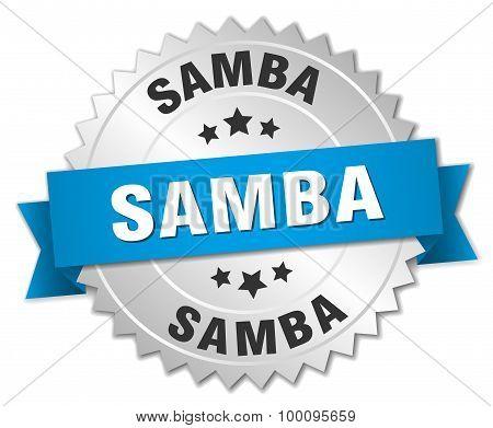 Samba 3D Silver Badge With Blue Ribbon