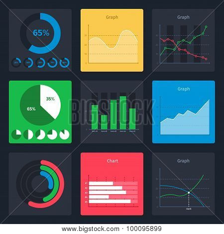 Set of vector business charts