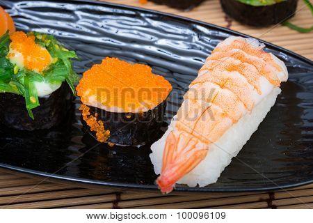 Sushi In Black Dish