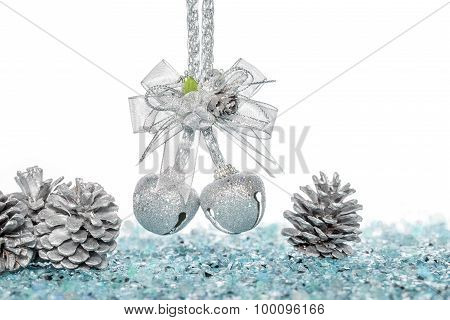 Luxury Silver Jingle Bells And Pine Cone On Snow
