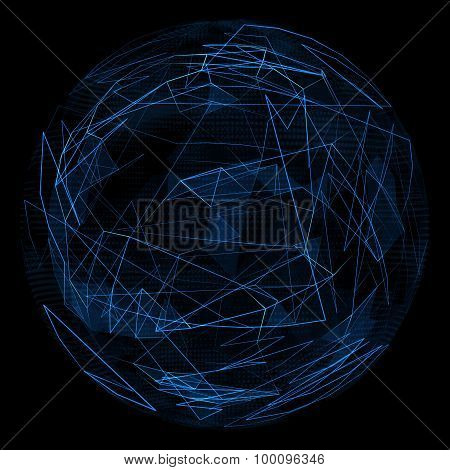 Abstract globe glow blue line and opacity triangle.