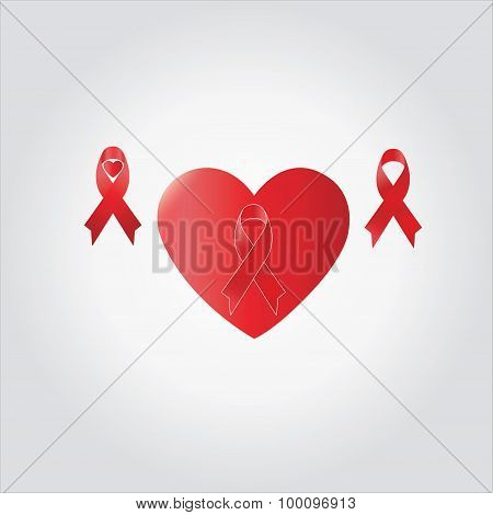 Red Ribbon In Love Shape,heart , Aids Day Awareness ,