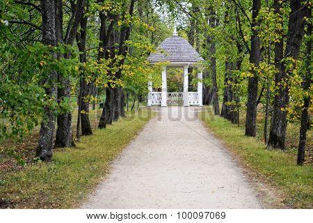Avenue Of Trees Leading To The White Gazebo In Autumn Park