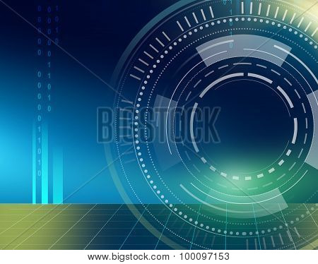 abstract technology circles and grid on dark blue background