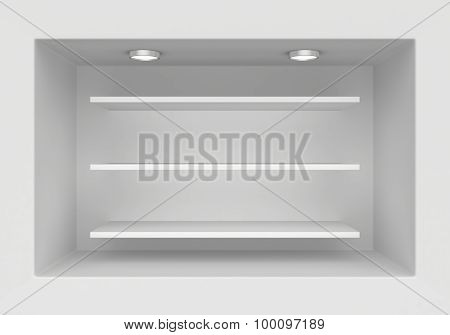 Blank exhibition boutique with shelves