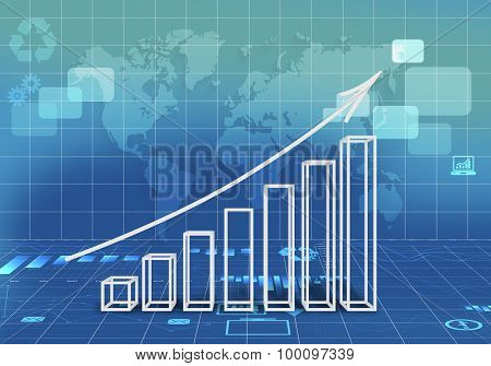 Abstract illustration with graphs arrow growth