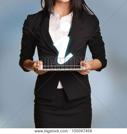 Woman is holding tablet with information icon