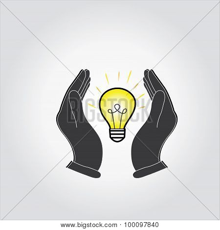 Bulb Idea Icon In Between Hands,save Idea,thinking ,solution