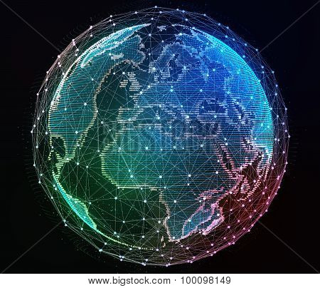 Internet network around the planet