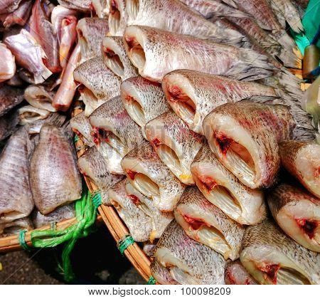 Dried fish sale on fish market