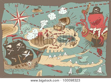 Island Treasure Map pirate map, vector illustration, hand drawn