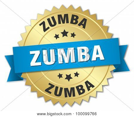 Zumba 3D Gold Badge With Blue Ribbon