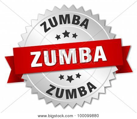 Zumba 3D Silver Badge With Red Ribbon