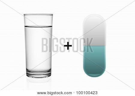 Glass Of Water And Illustration Pill Isolated On White .
