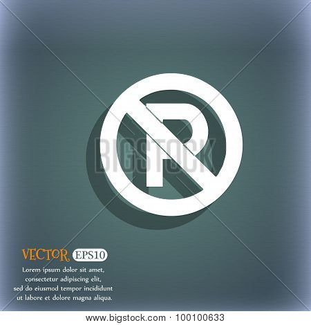 No Parking Icon Symbol On The Blue-green Abstract Background With Shadow And Space For Your Text. Ve