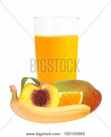 Multifruit Juice In The Glass Isolated On White