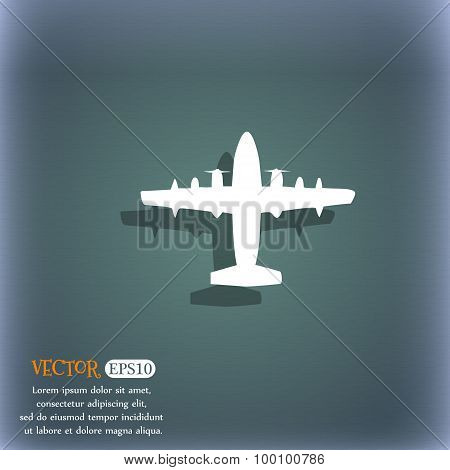 Aircraft Icon Symbol On The Blue-green Abstract Background With Shadow And Space For Your Text. Vect