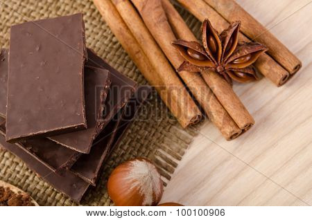 Cinnamon Stick, Star Anise And Chocolate With Nuts
