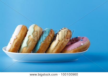 Donuts On White Dish