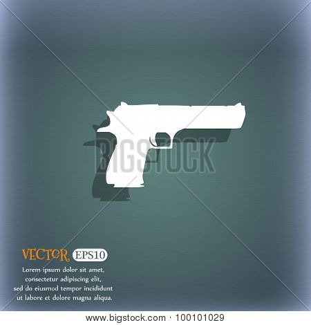 Gun Icon Symbol On The Blue-green Abstract Background With Shadow And Space For Your Text. Vector