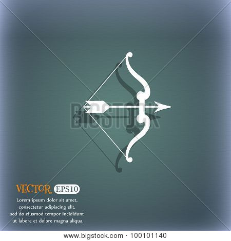 Bow And Arrow Icon Symbol On The Blue-green Abstract Background With Shadow And Space For Your Text.
