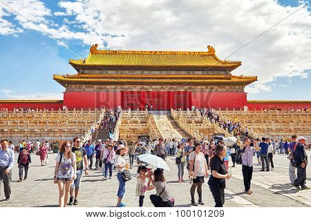 Beijing, China - May 18, 2015: People, Tourists Walking On The Territory Of The Forbidden City, Pala