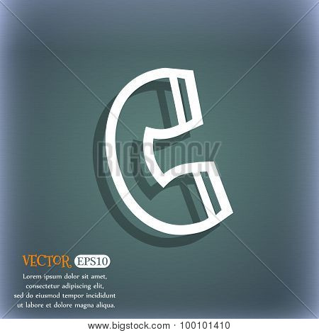 Handset Icon Symbol On The Blue-green Abstract Background With Shadow And Space For Your Text. Vecto