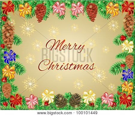 Merry Christmas Frame Of The Branches With Ribbon And Pine Cones Vector