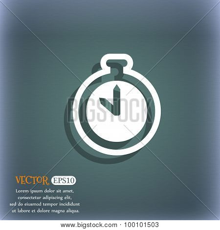 The Stopwatch Icon Symbol On The Blue-green Abstract Background With Shadow And Space For Your Text.