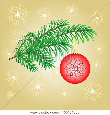 Christmas Decoration Branch With  Red Balls Vector
